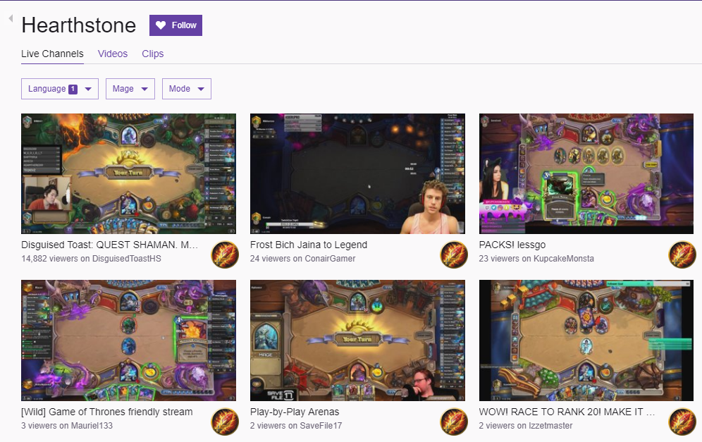 Hearthstone Stream Categories