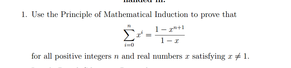 discrete mathematics - Proof by Induction: $\sum_0^nx^i=(1-x^{n+1 ...