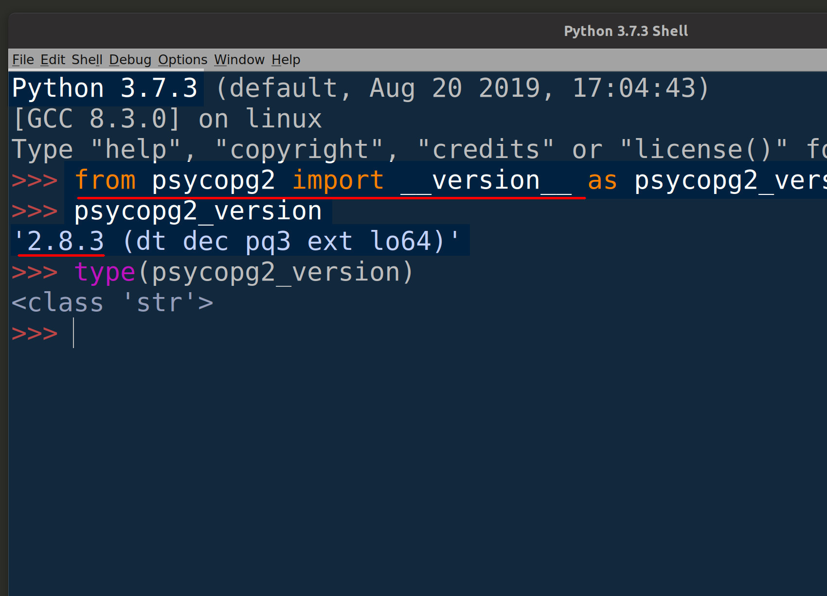Screenshot of Python's IDLE getting the version string for psycopg2