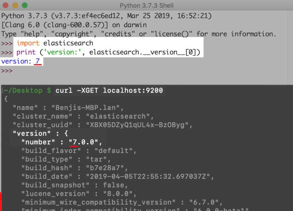 Screenshot of Python and cURL getting the versions of Elasticsearch and its Python low-level client