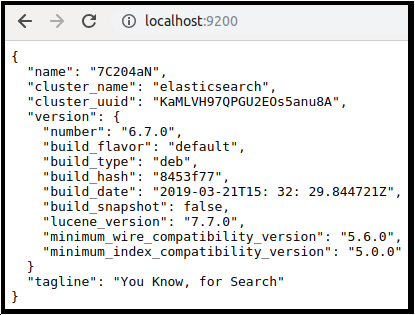 A screenshot checking if Elasticsearch is running by navigating to port 9200 in a web browser
