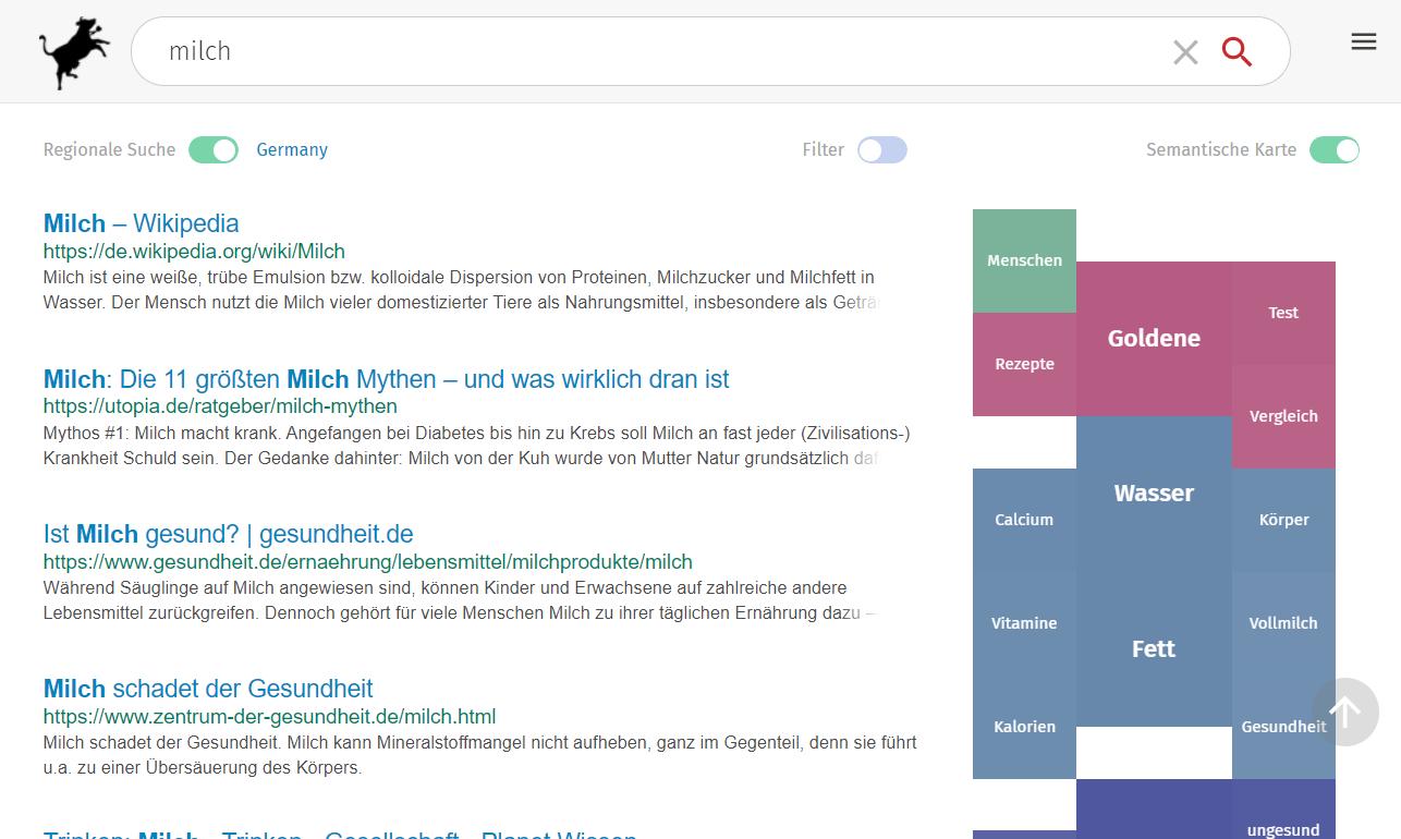 Stichwort-Blasen auf der rechten Seitenleiste - swisscows.ch Feature-Demonstration