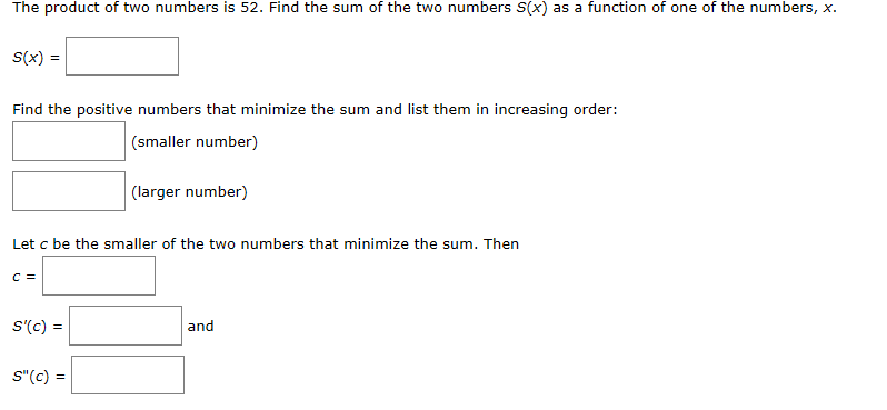 Solved: The Product Of Two Numbers Is 52  Find The Sum Of