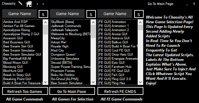 Release Chaosity 4 Game Hubs No Key System 3 Api S To Choose From Script Search 500 Games Monaco Etc Wearedevs Forum