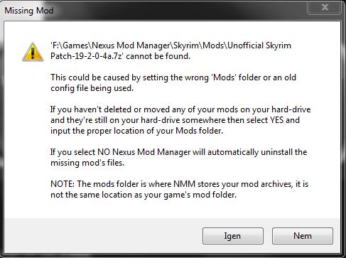 Nexus Manager mods Missing