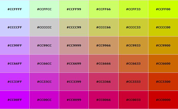 recipe: html color codes list [27]