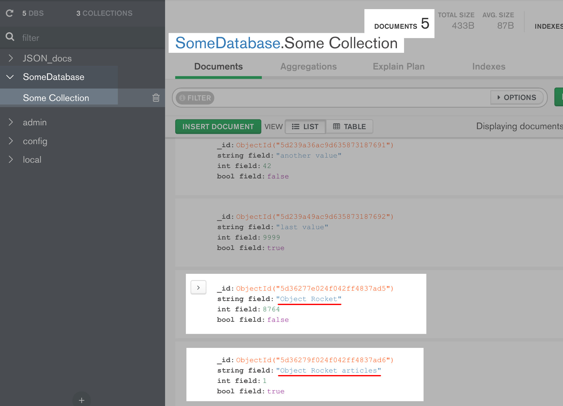 Screenshot of some documents in MongoDB Compass