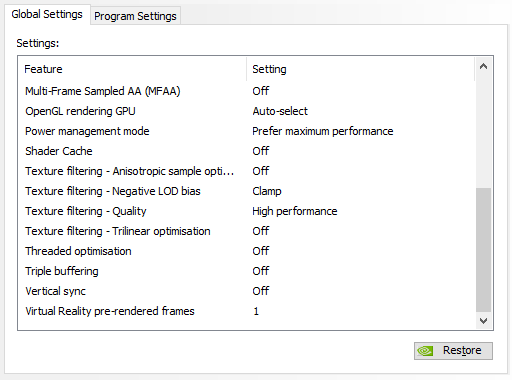 Nvidia or other settings to improve performance / stuttering