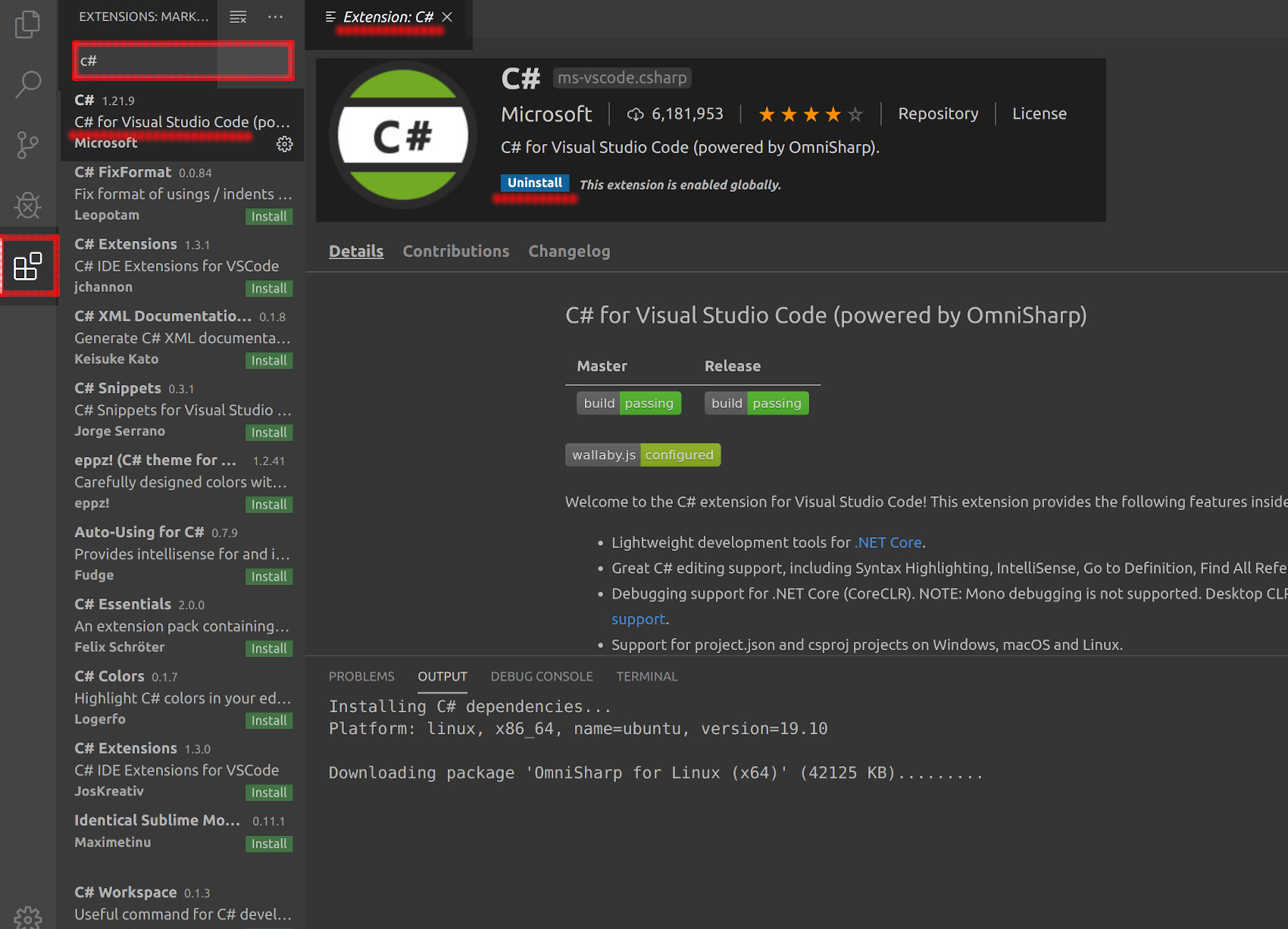 Screenshot of the Visual Studio Code Extension Marketplace installing the C# extension