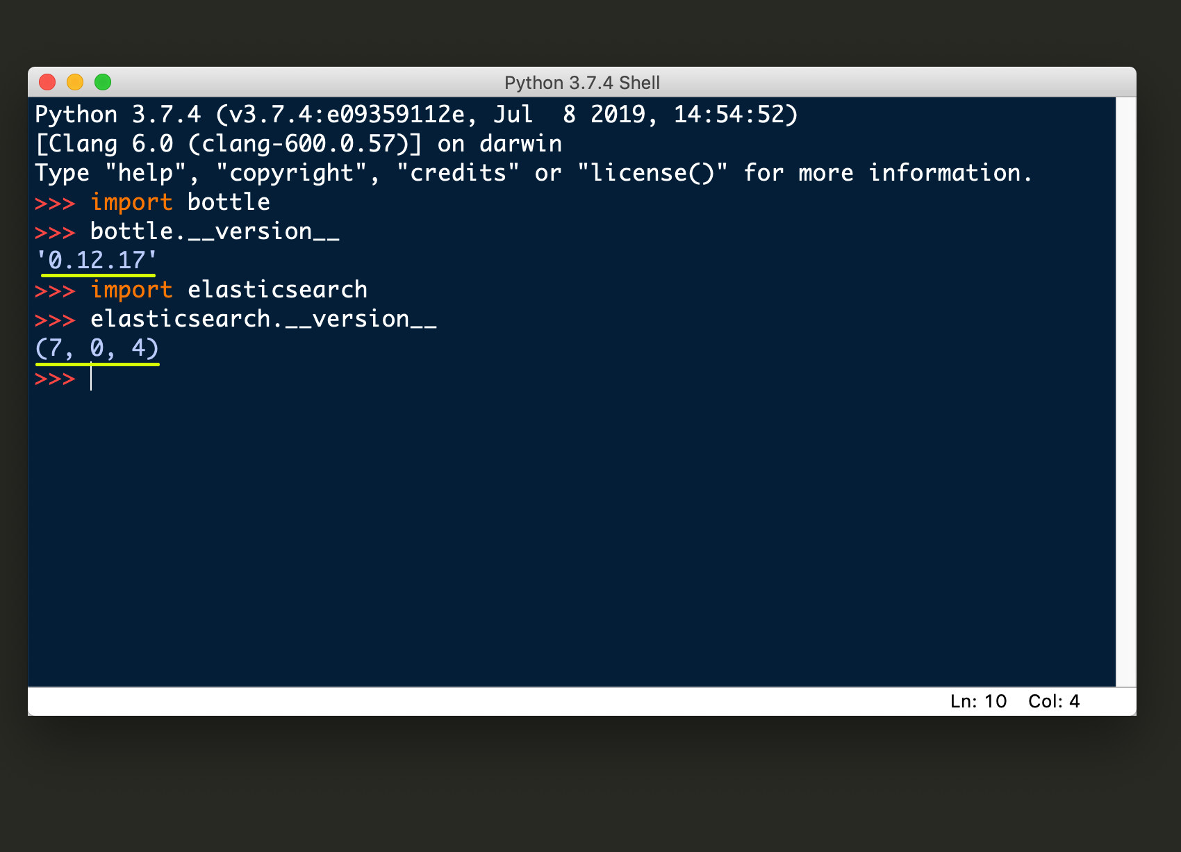 Screenshot of Python 3.7 IDLE returning the version numbers for Bottle and Elasticsearch
