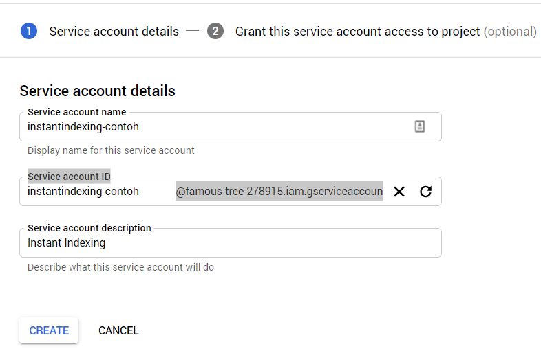 akun servis detail, Cara Setting Instant Indexing