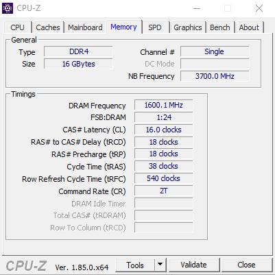 TridentZ 16GB DIMM DDR4 clocked @ 3200 MHz below potential