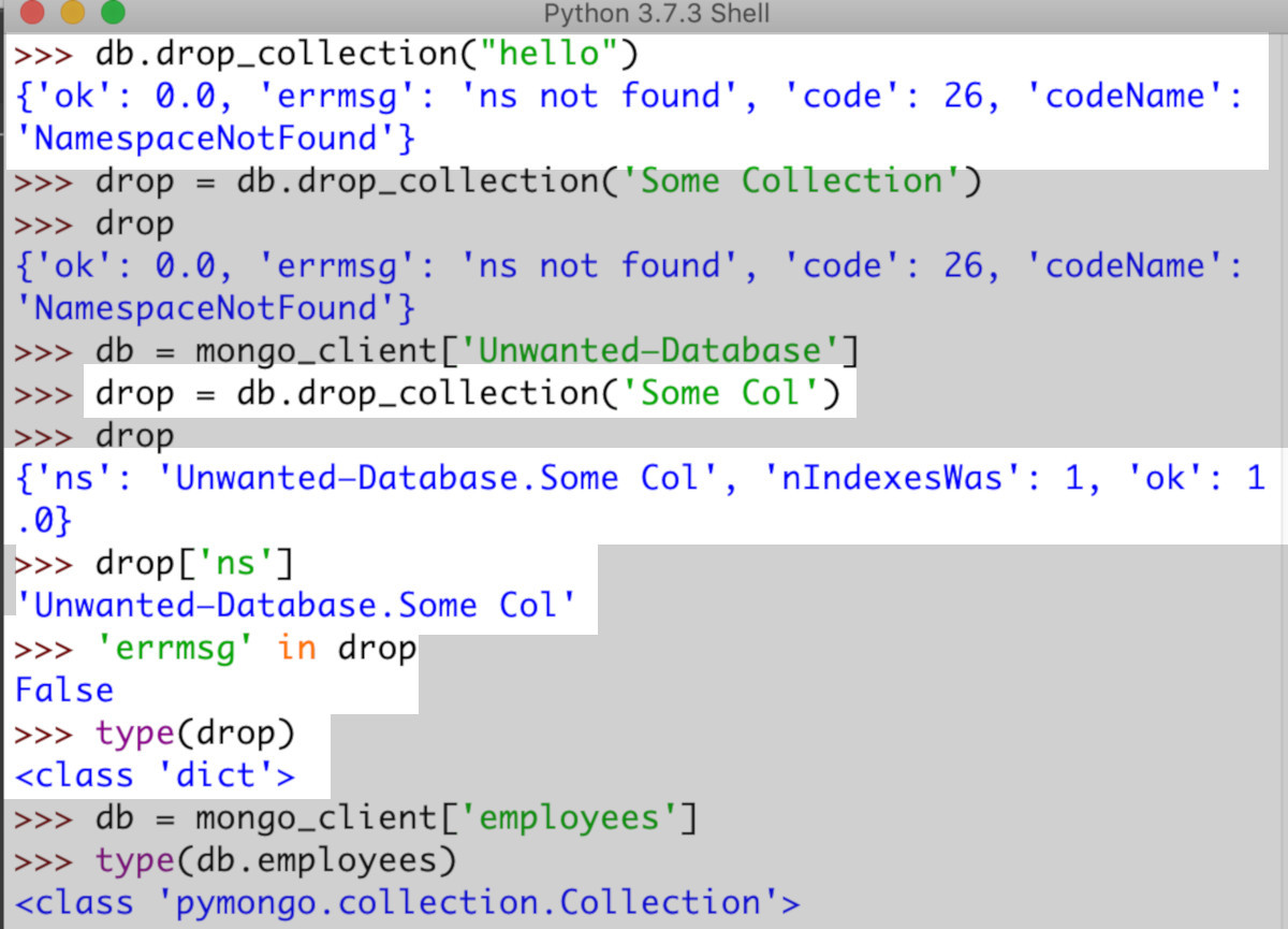 Screenshot of Python IDLE calling PyMongo drop_collection() method