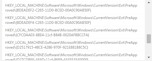 hkey local machine software microsoft windows currentversion ext preapproved