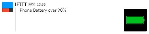 [スクリーンショット]Slackに届いた「Phone Battery over 90%」の通知