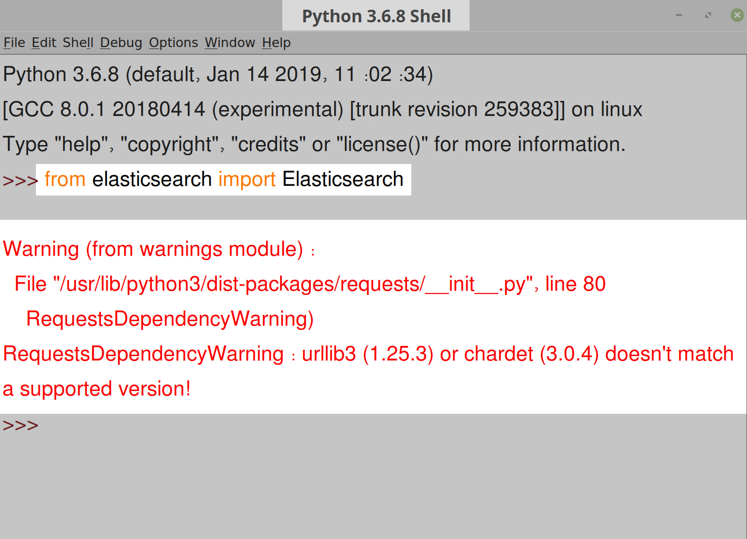 Screenshot of Python IDLE returning RequestsDependencyWarning while importing Elasticsearch