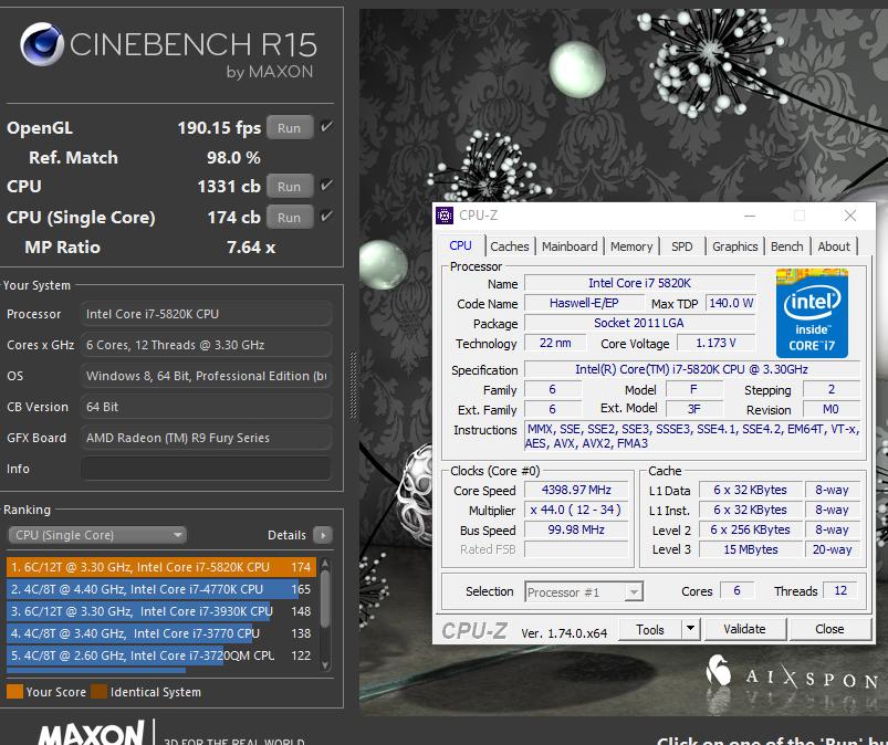 Cinebench R15 cpu+overclocking score - Overclocking