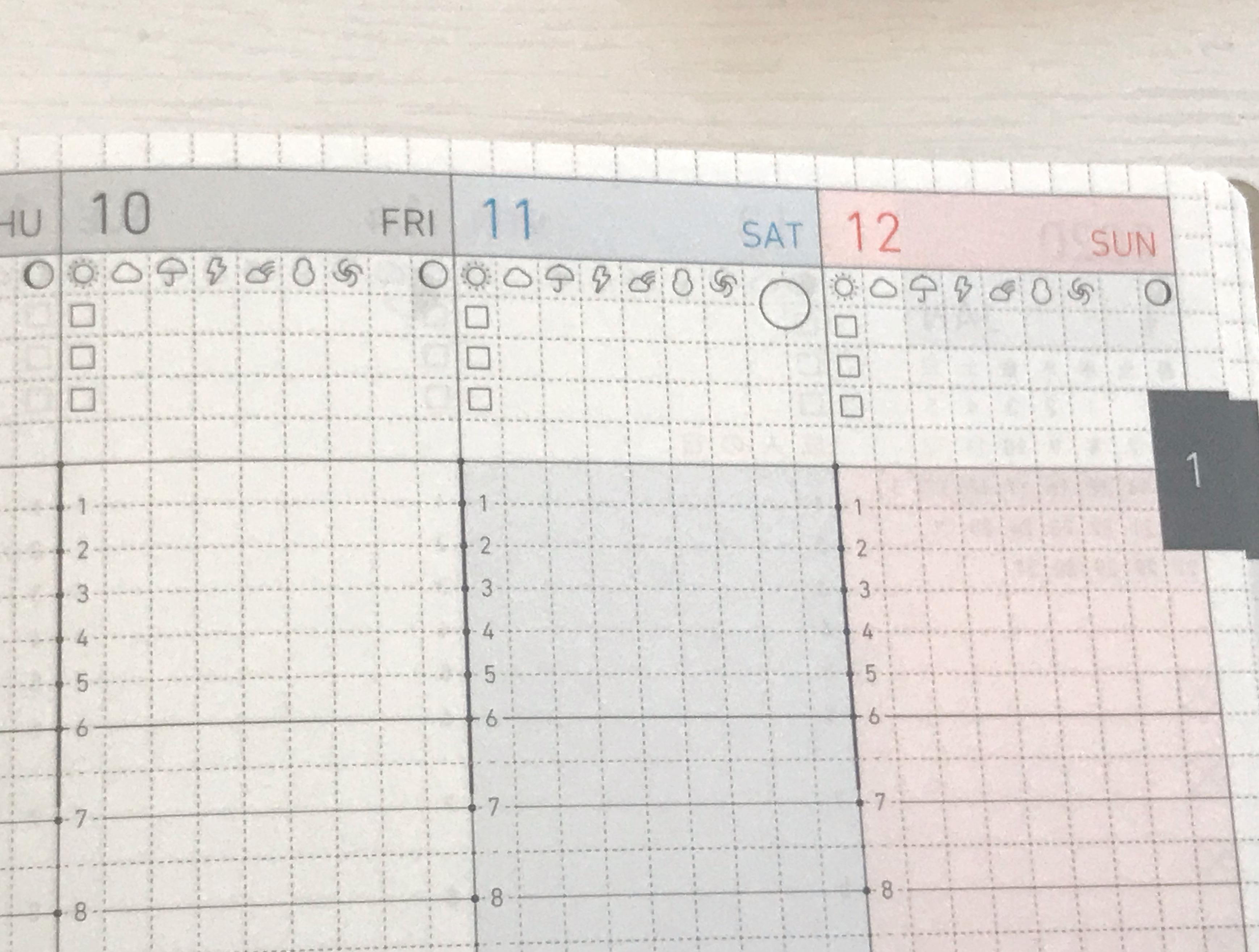 ジブン手帳Lite バーチカル上部