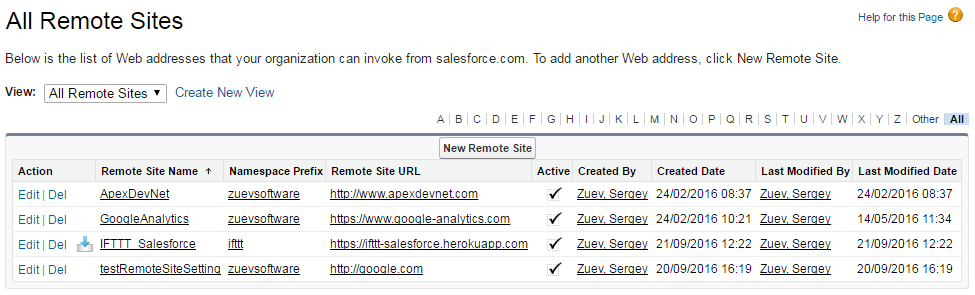 Salesforce Remote site settings