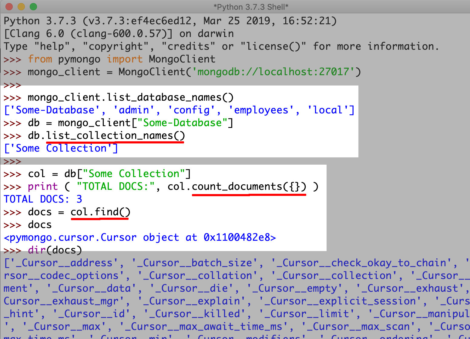 Screenshot of PyMongo returning a Cursor object of MongoDB docs and an integer from the count_documents() method