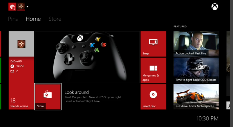 Xbox One Home Screen Screenshot