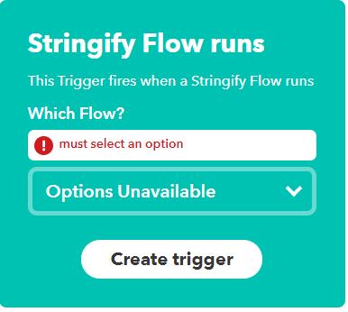 Can't get Stringify working in IFTTT - Stringify