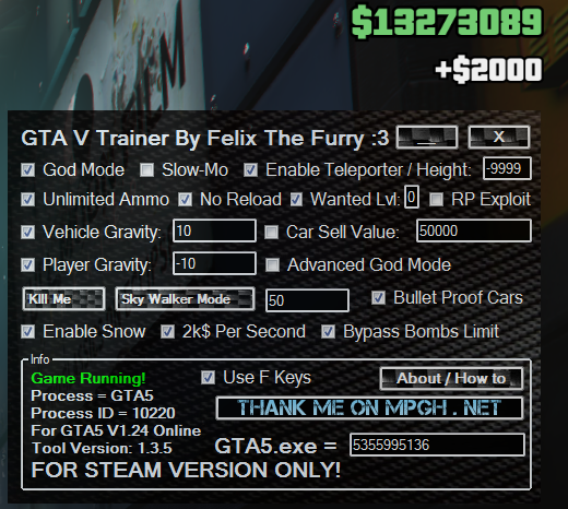 Outdated] GTAV Online Trainer By Felix The Furry v1 3 5 - MPGH