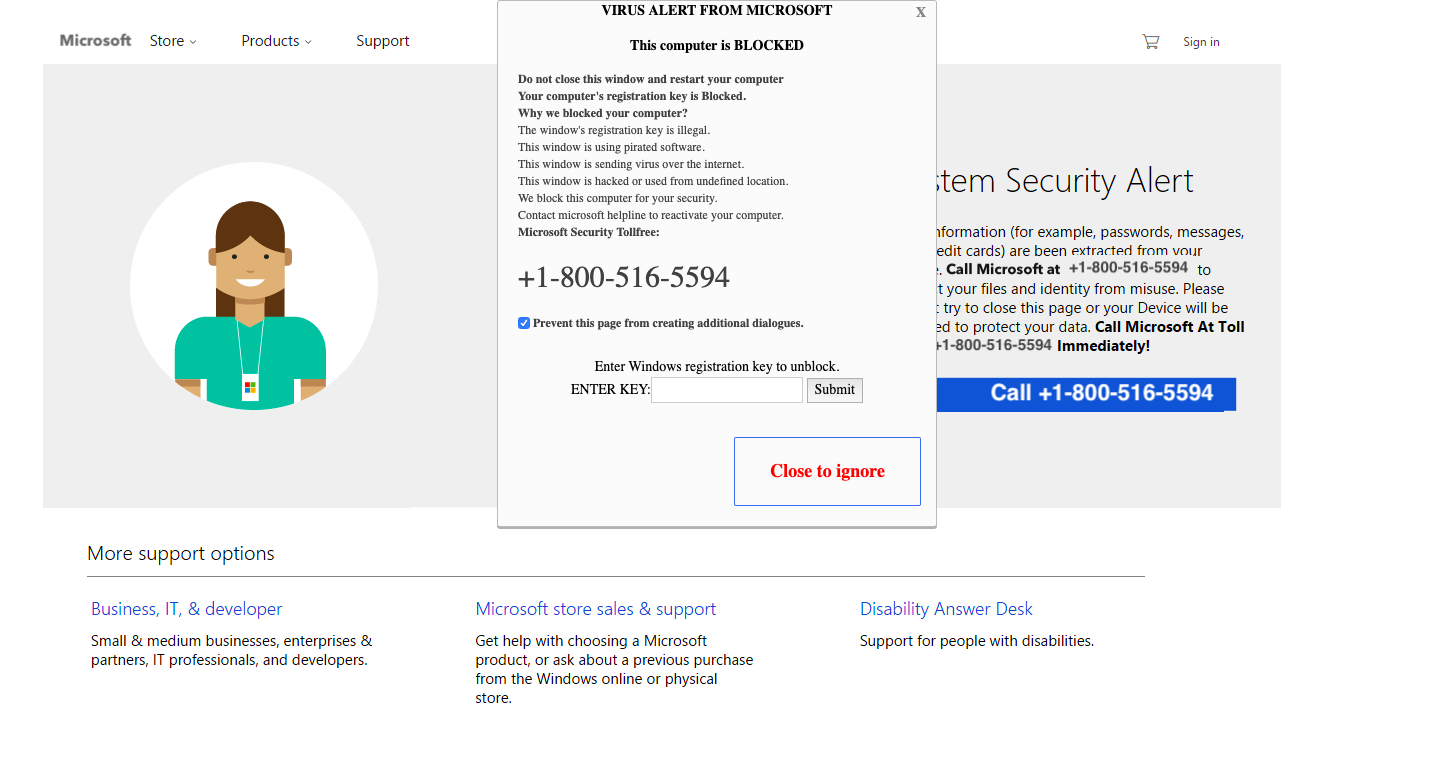 1-800-516-5594 fake microsoft pop up - Scammer info - Scambaiters