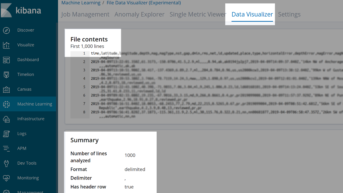 File Contents Summary after uploading CSV data into Elasticsearch via the Kibana UI