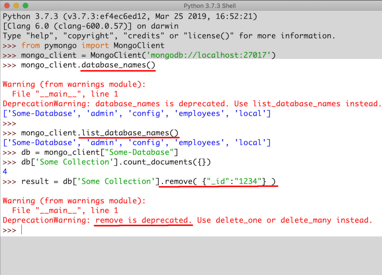 Screenshot of PyMongo warning that remove() and database_names() are deprecated