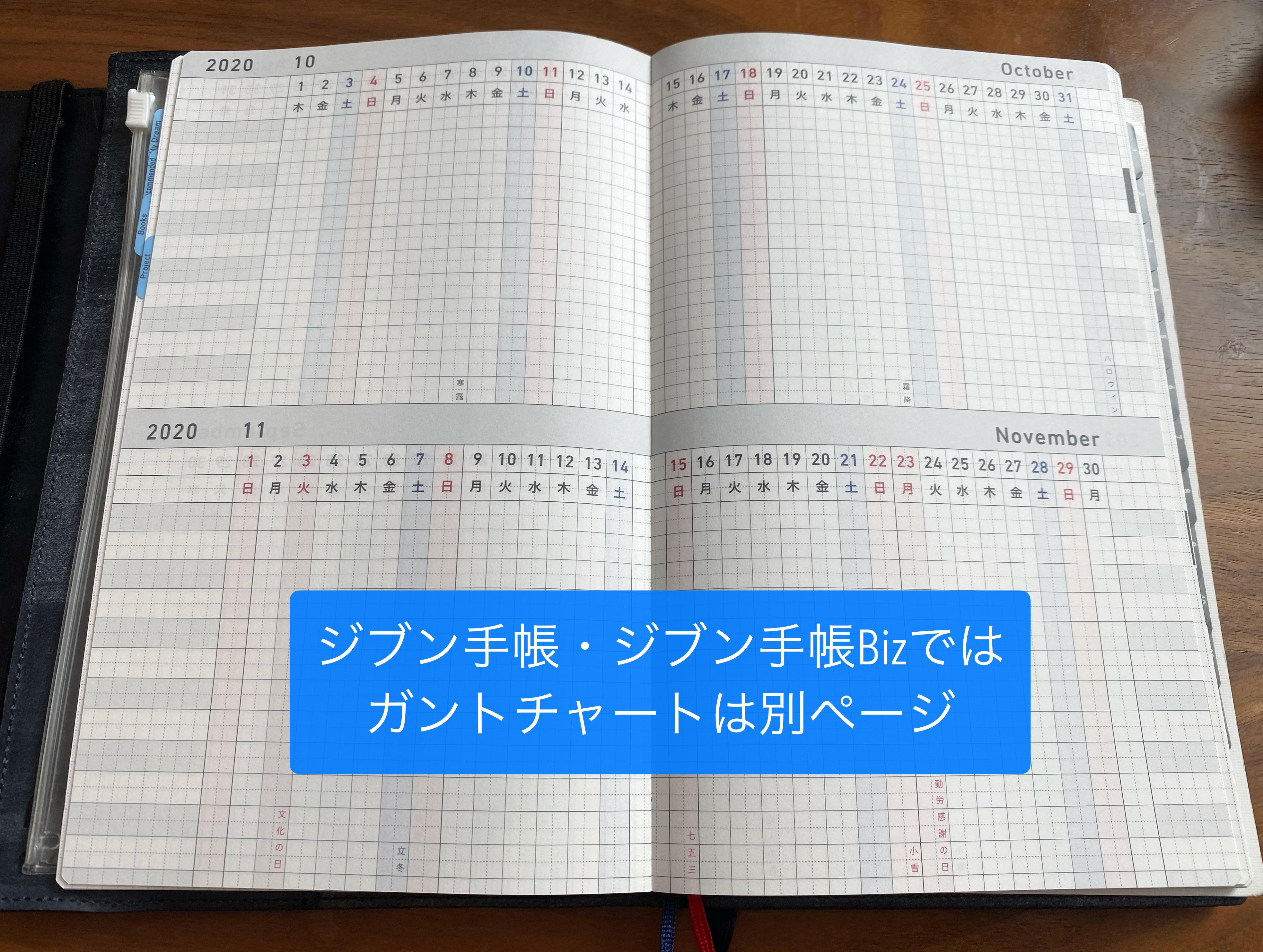ジブン手帳 ガントチャート別ページ