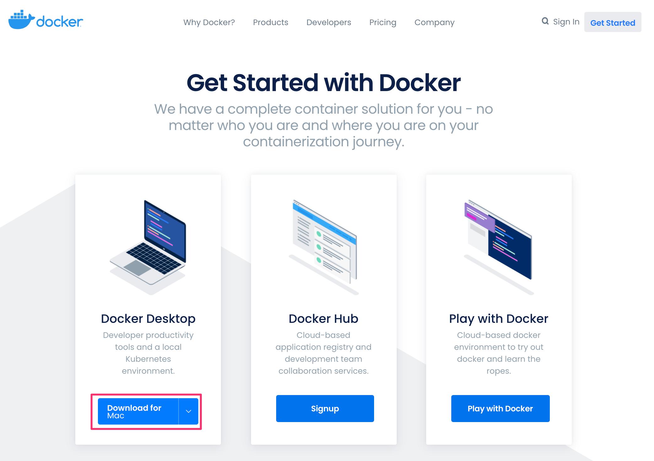 Docker for Macのダウンロード