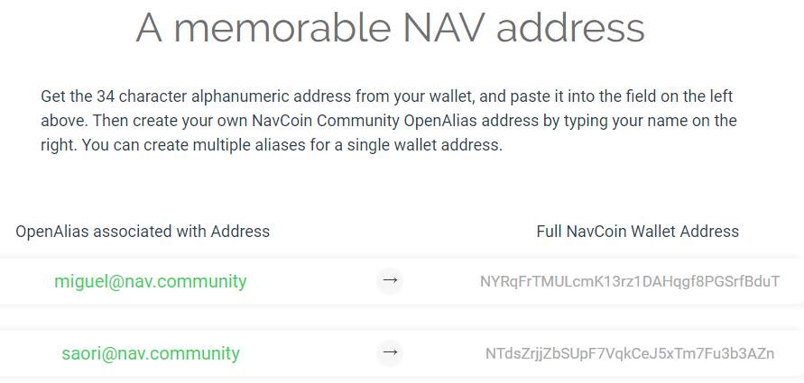 NavCoin now allows you to send funds to an alias instead of
