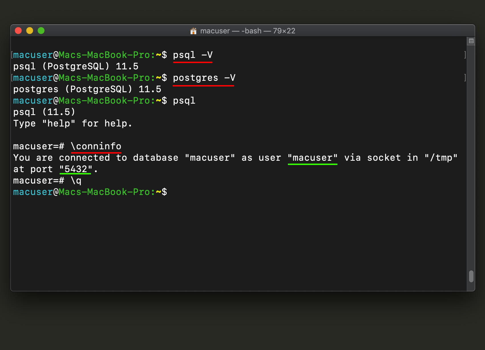 psql and Postgres version numbers in a terminal window