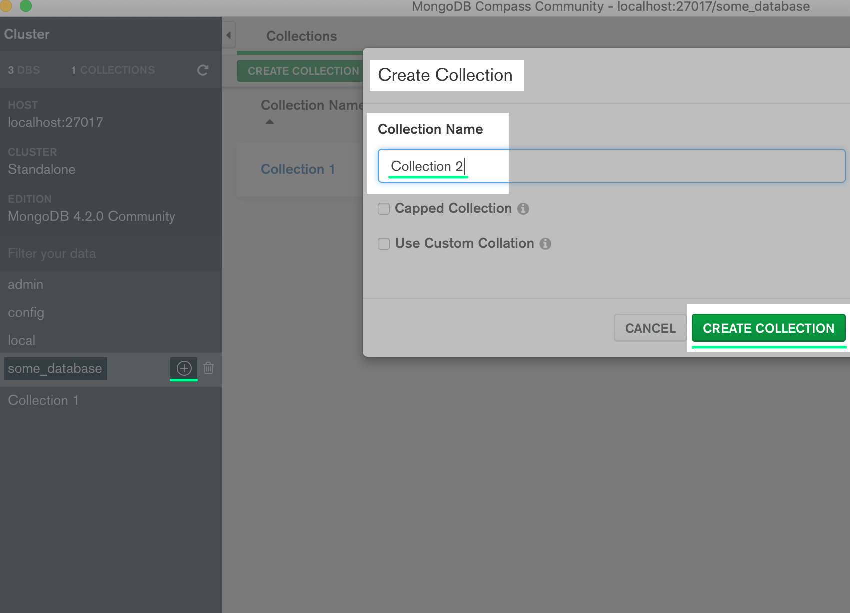 Screenshot of MongoDB Compass UI creating a collection