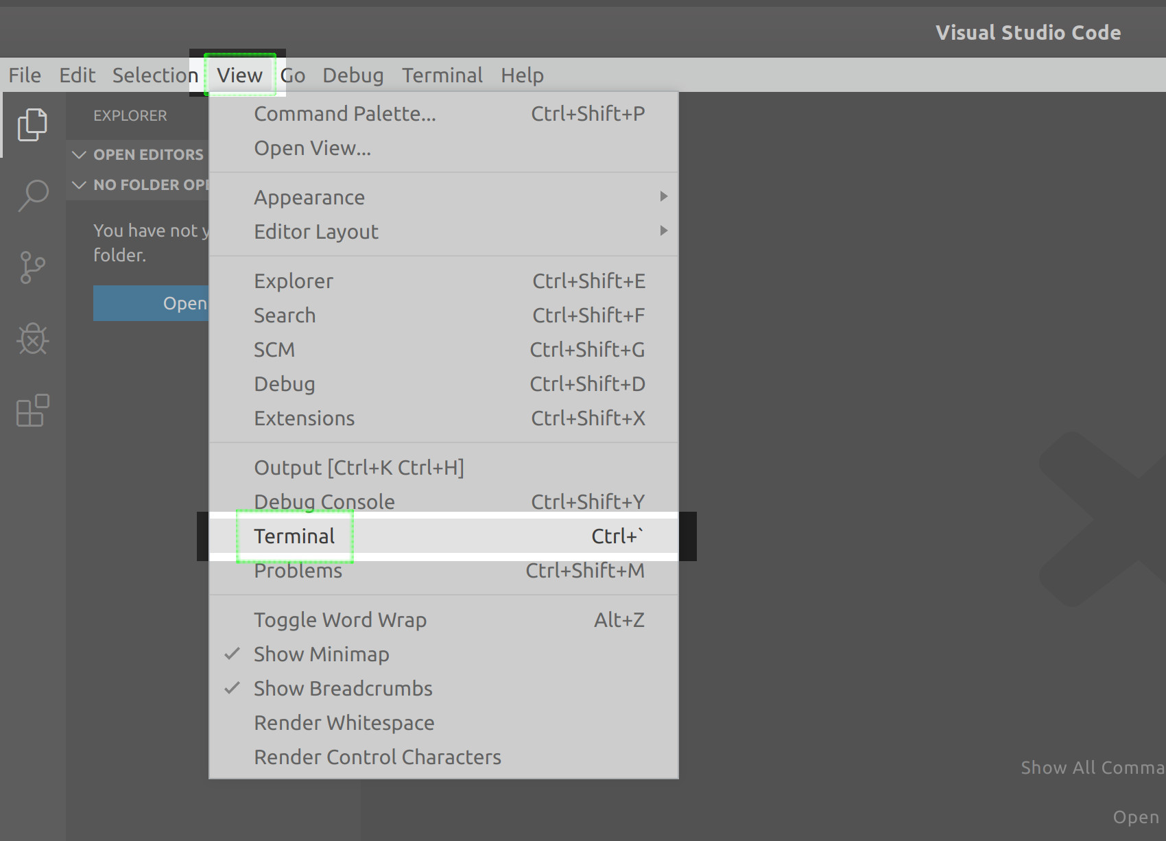 Screenshot of a C# MongoDB project opening VS code terminal from View menu