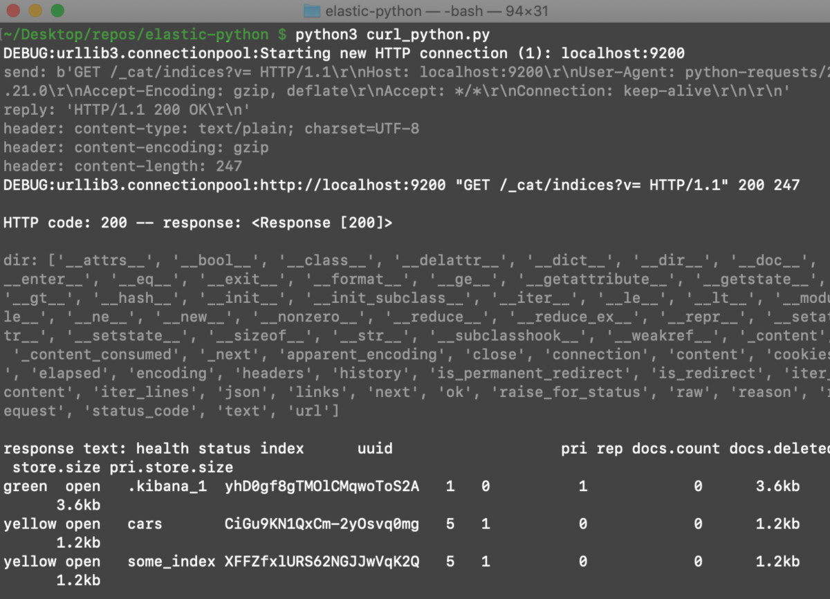 Screenshot of cURL GET requests in terminal to get the health and status of an Elasticsearch cluster