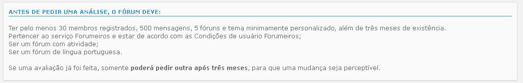 Como pedir análise de fórum? 82829b7f78a37ea260b8db5d1df26436