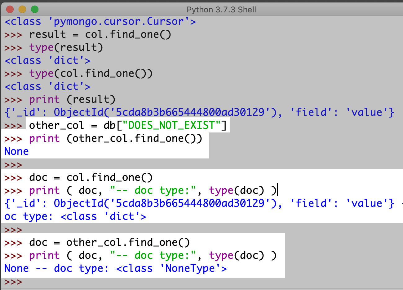 Screenshot of Python IDLE making the find_one() API call to a MongoDB collection