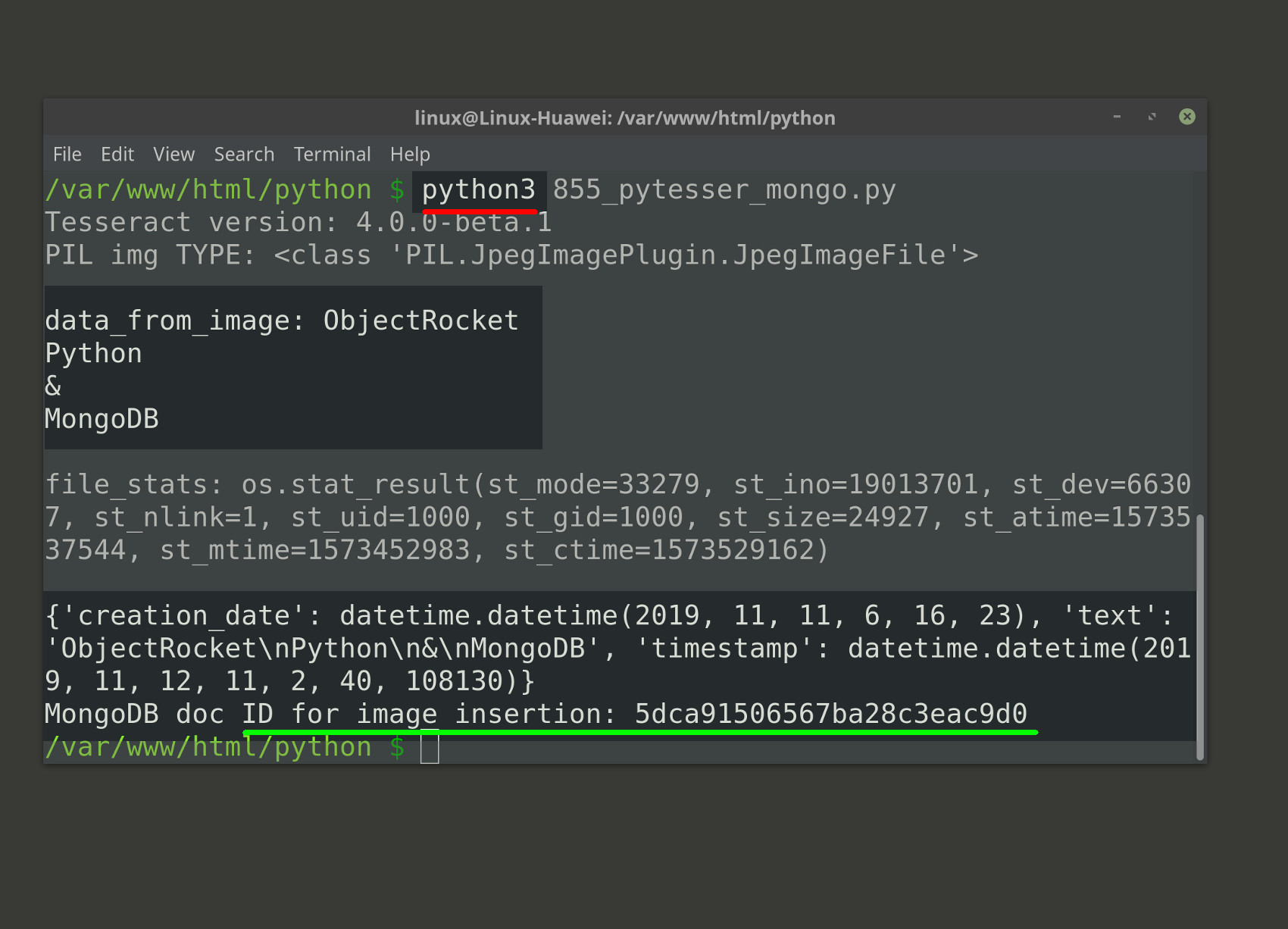 Screenshot of Python3 inserting text extracted from an image using Tesseract into a MongoDB collection