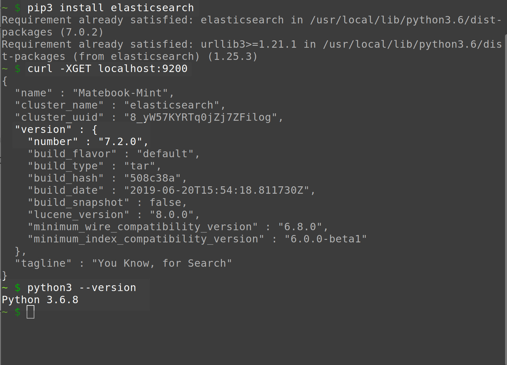 Screenshot of the PIP3 installer for Python 3 and Elasticsearch in a UNIX terminal