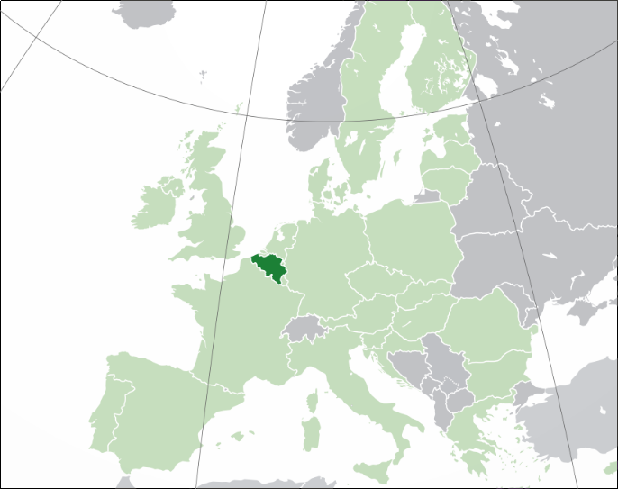 Belgium on the map of Europe