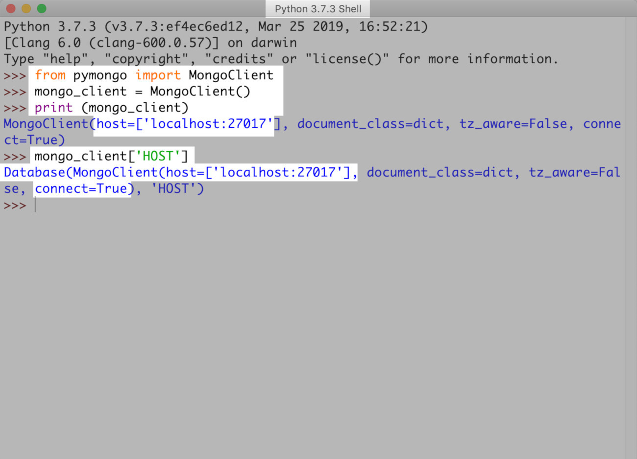 Screenshot of a MongoDB client instance in the IDLE Python environment