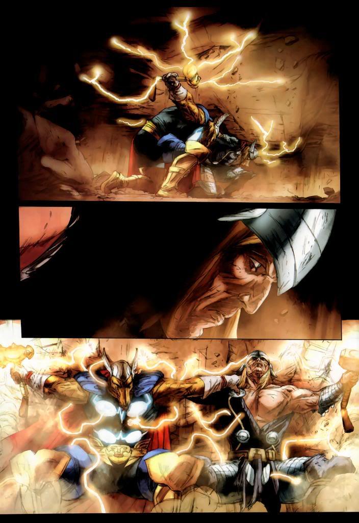 Thor and Beta Ray Bill lifting Asgard back up