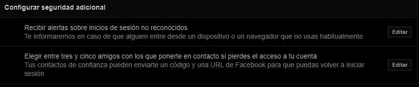 alertas de inicio de sesión facebook