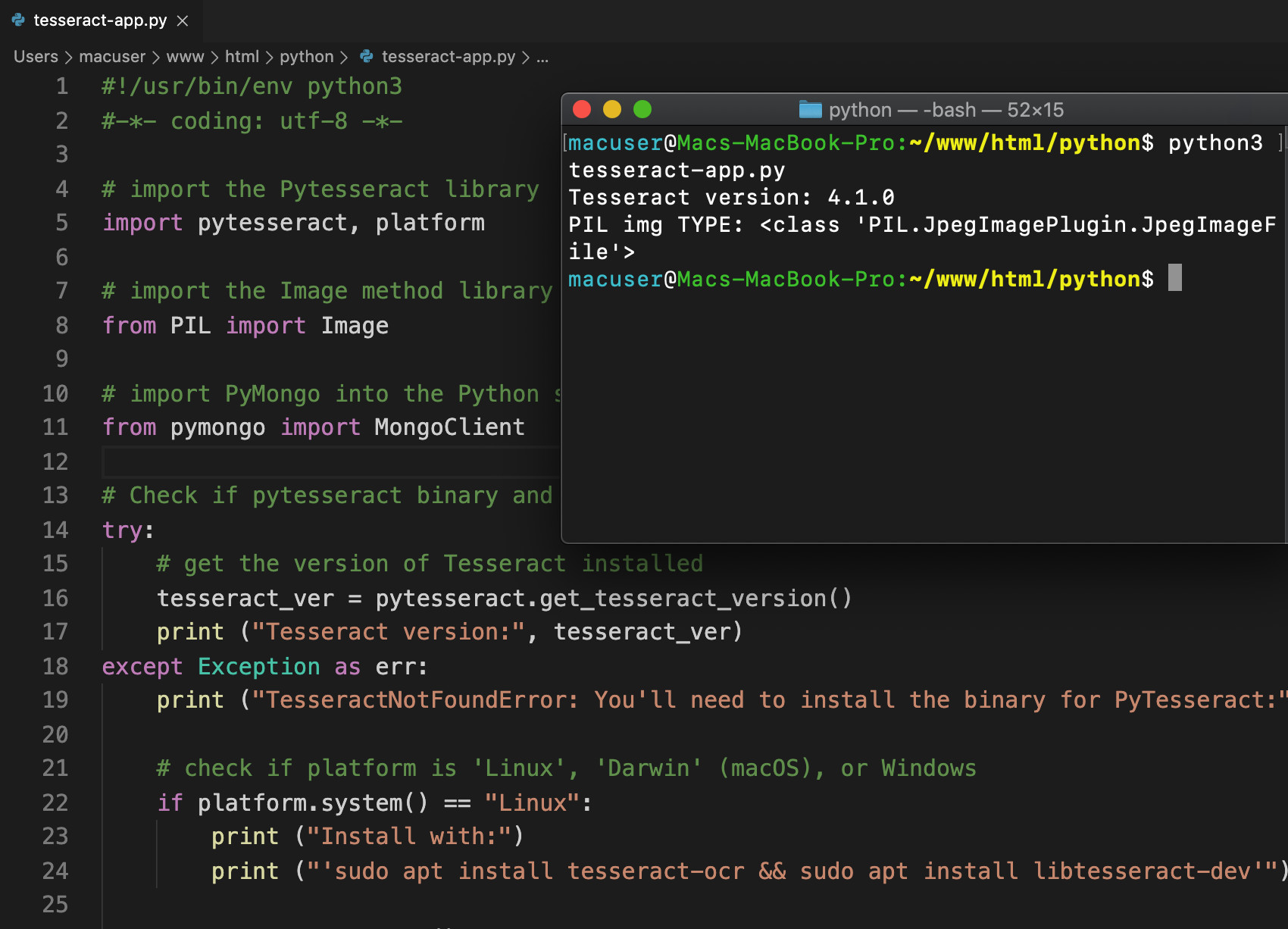 Screenshot of Visual Studio Code and a UNIX terminal window executing a Python script for PyTesseract