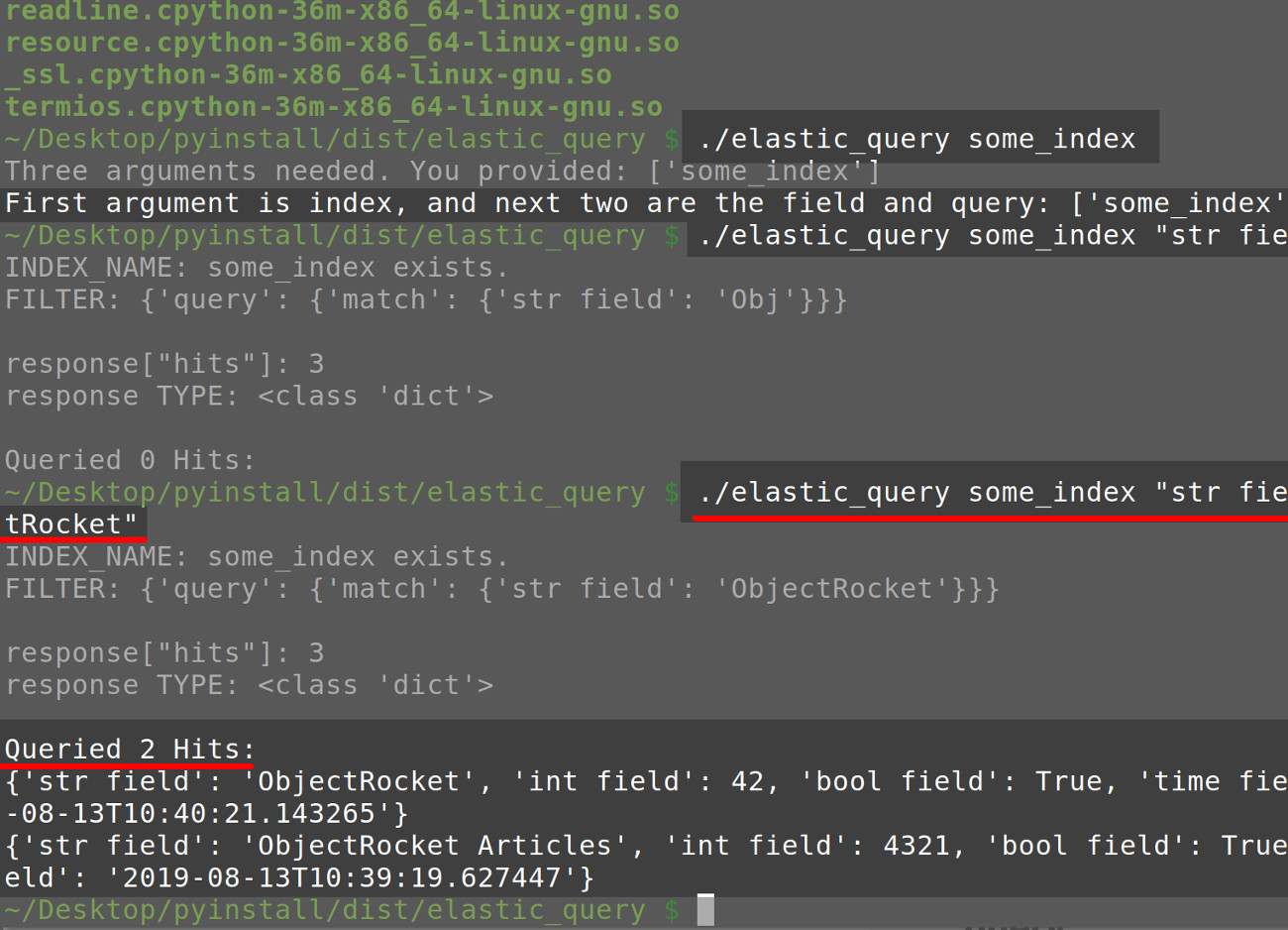 Screenshot of a terminal printing the results of an Elasticsearch query request made using a PyInstaller application