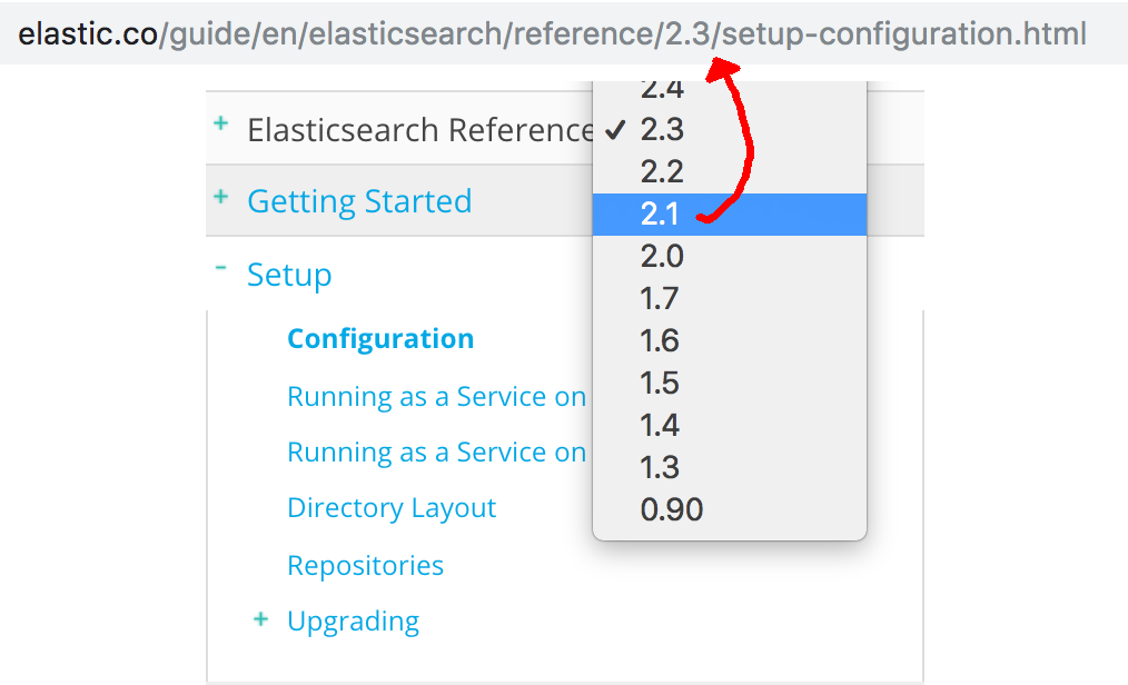 Make sure to select the correct reference version number for your installed version of Elasticsearch on the right-hand side of the website