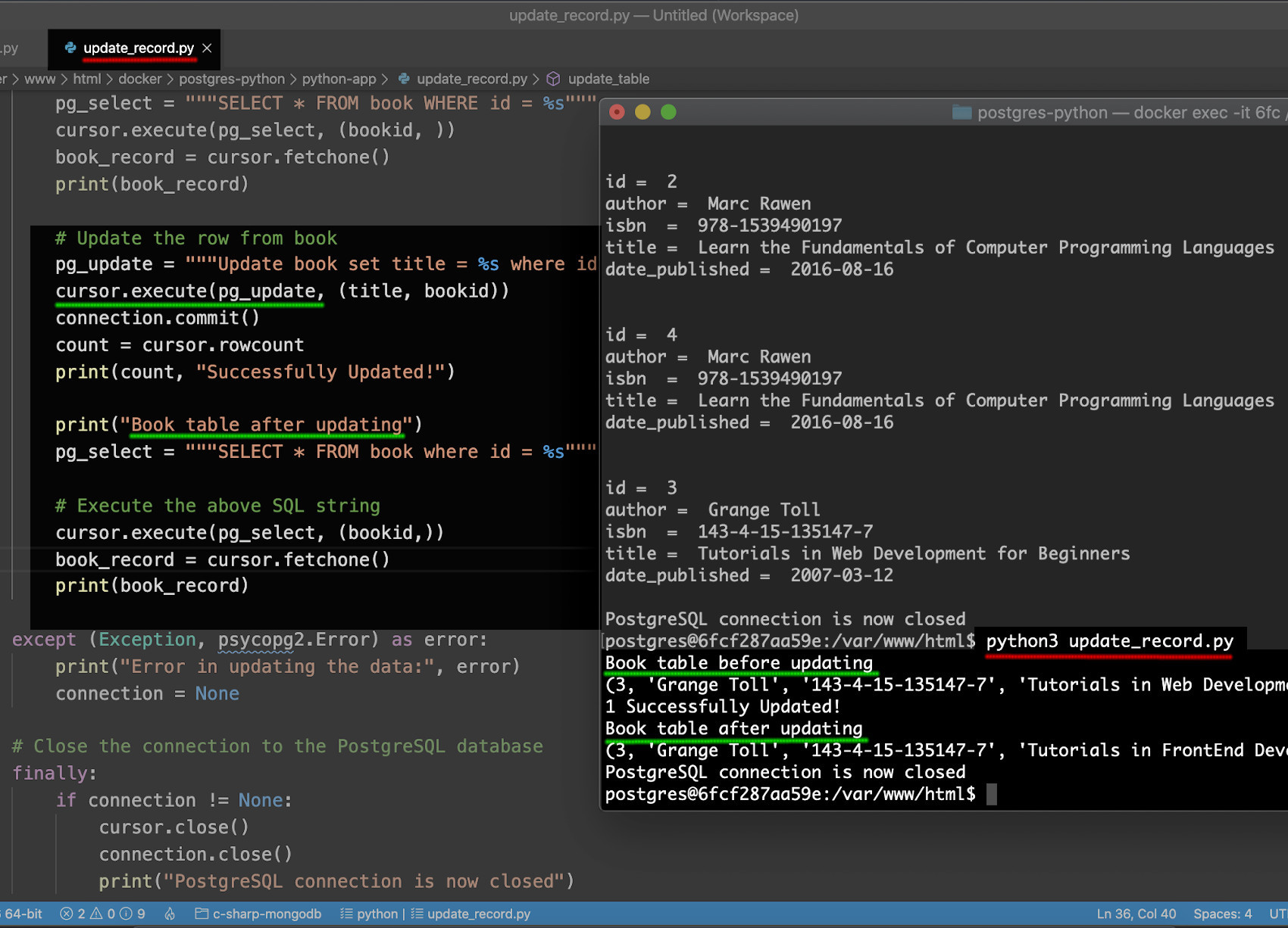 Screenshot of PostgreSQL CRUD example in Python using psycopg2 to update a record