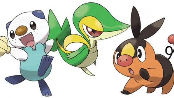 Los Pokémon iniciales de la quinta generación. De izquierda a derecha: Oshawott, Snivy y Tepig.